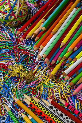 Photograph - Pencils And Paperclips by Garry Gay