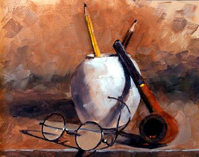Realism Wall Art - Painting - Pencils And Pipe by Jim Gola