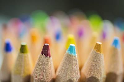 Photograph - Pencils Colored Macro 2 by David Haskett II