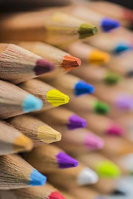 Photograph - Pencils Colored Macro 4 by David Haskett II