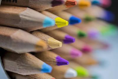 Photograph - Pencils Colored Macro 5 by David Haskett II