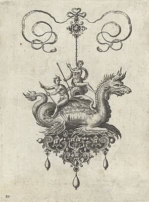 Dragon Drawing - Pendant With Dragon, Print Maker Adriaen Collaert by Adriaen Collaert And Hans Collaert I And Philips Galle