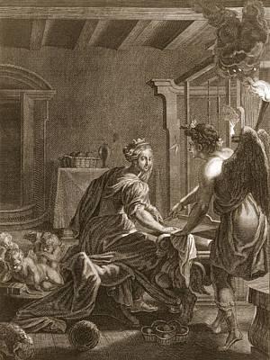 Cupid Drawing - Penelope At Her Loom, 1731 by Bernard Picart