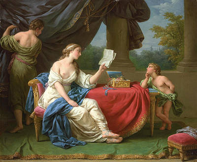Penelope Painting - Penelope Reading A Letter From Odysseus by Louis-Jean-Francois Lagrenee