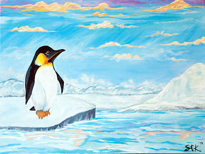 White As Snow Painting - Penguin And Glaciers by Sarah Tiffany King