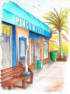 Laguna Beach Painting - Penguin Cafe In Laguna Beach, California by Carlos G Groppa