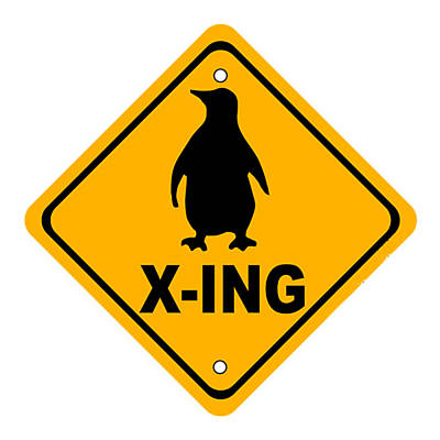 Digital Art - Penguin Crossing Sign by Marvin Blaine