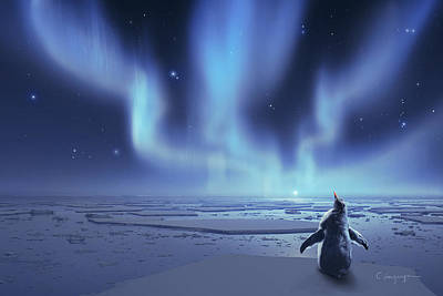 Winter Night Digital Art - Penguin Dreams by Cassiopeia Art