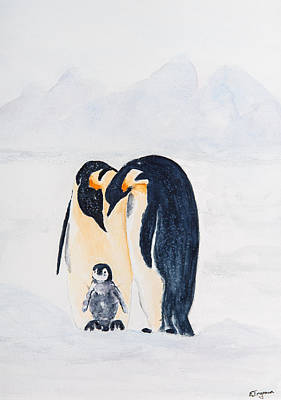 Penguin Family Art Print by Elvira Ingram
