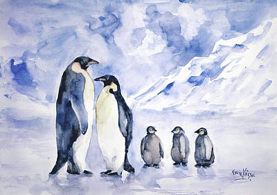 Art Print featuring the painting Penguin Family by Faruk Koksal
