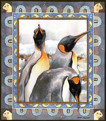 Painting - Penguin Family Portrait by Anne Gifford