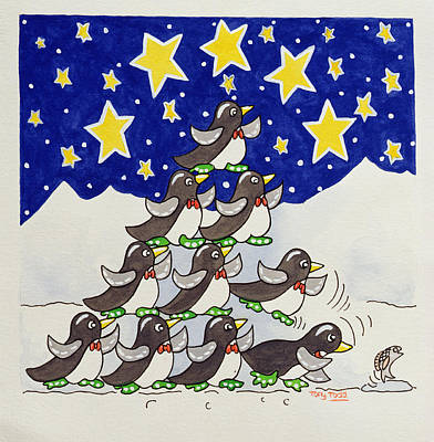 Penguin Drawing - Penguin Formation by Tony Todd