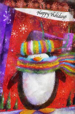 Nativity Digital Art - Penguin Happy Holidays Photo Art by Thomas Woolworth