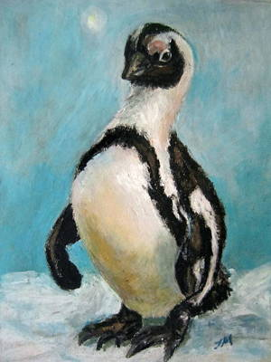 Art Print featuring the painting Penguin by Jieming Wang