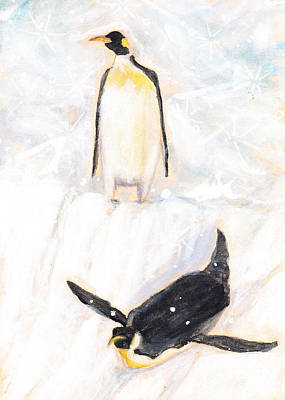 Penguin Play Art Print by Andrea LaHue