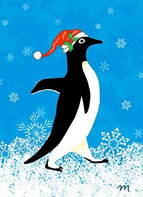 Penguin Digital Art - Penguin Santa Two by Linda Mears