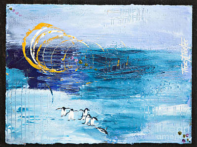 North Sea Painting - Penguins Abstract by Tracy L Teeter