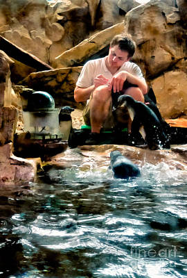 Photograph - Penguins And Caretaker  by Kathleen K Parker