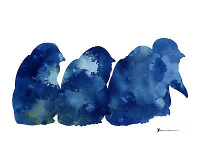 Penguin Mixed Media - Penguins Silhouette Watercolor Poster For Sale by Joanna Szmerdt