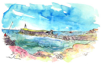 Lighthouse Drawing - Peniche In Portugal 07 by Miki De Goodaboom