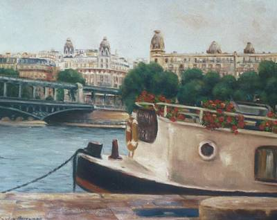Bir Painting - ' Peniches ' Opposite Passy - Paris by Gulay Berryman