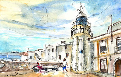 Old Building Drawing - Peniscola Light Tower 01 by Miki De Goodaboom