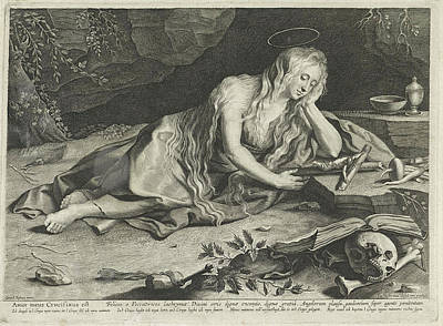 St Mary Magdalene Drawing - Penitent Mary Magdalene In A Cave, Lucas Vorsterman by Lucas Vorsterman (i)