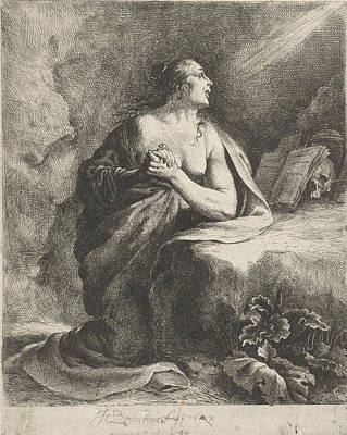St Mary Magdalene Drawing - Penitent Mary Magdalene by Jan Gerritsz. Van Bronchorst