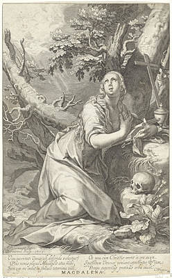 St Mary Magdalene Drawing - Penitent St. Mary Magdalene by Quint Lox