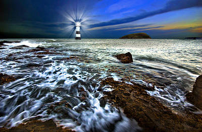 Photograph - Penmon Light And Puffin Island by Meirion Matthias