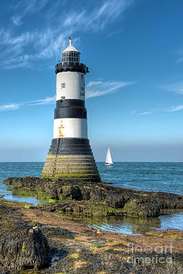 Anglesey Digital Art - Penmon Point Sailing by Adrian Evans