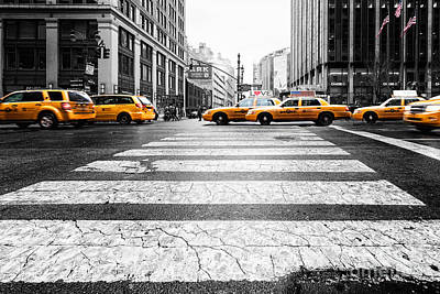 Taxi Photograph - Penn Station Yellow Taxi by John Farnan