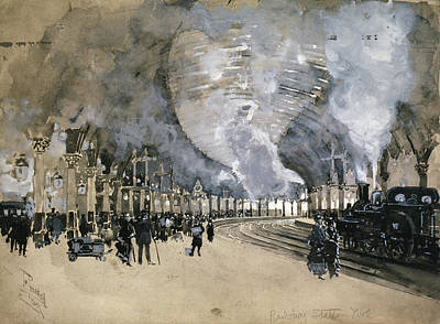 Train Station Drawing - Pennell England, 1895 by Granger