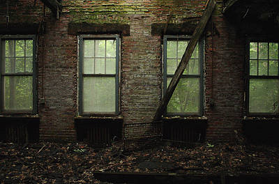 Brick Schools Digital Art - Pennhurst Brick Windows by W Scott Phillips