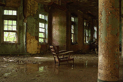 Brick Schools Digital Art - Pennhurst Chair In A Wet Room by W Scott Phillips