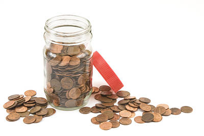 Photograph - Pennies And Jar On White Background by Keith Webber Jr