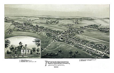 Old Map Painting - Pennsburgh - Pennsylvania - 1894 by Pablo Romero