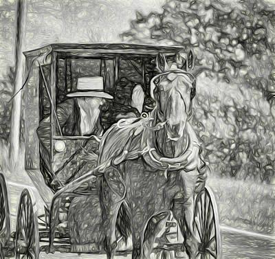 Pennsylvania Amish 2 -  Bw Print by Steve Harrington
