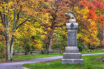 Pennsylvania At Gettysburg - 115th Pa Volunteer Infantry De Trobriand Avenue Autumn Print by Michael Mazaika