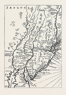 Pennsylvania Drawing - Pennsylvania At The Beginning Of The Eighteenth Century by American School