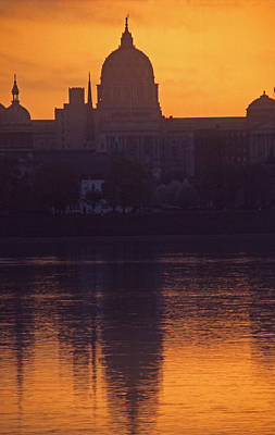 1-war Is Hell Royalty Free Images - Pennsylvania Capitol Silhouette and Susquehanna River Reflection Royalty-Free Image by Blair Seitz