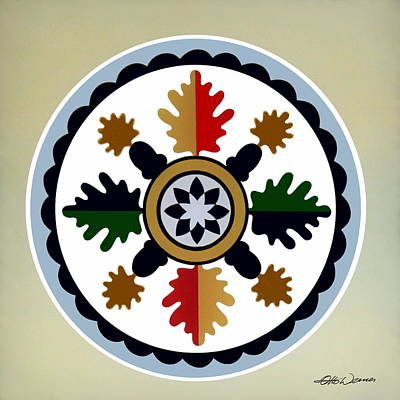 Hex Signs Painting - Pennsylvania Dutch Hex 6 by Hanne Lore Koehler