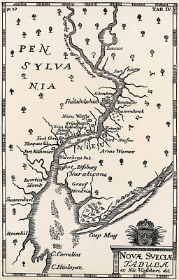 Pennsylvania Drawing - Pennsylvania  Late 17th Century Map by Mary Evans Picture Library