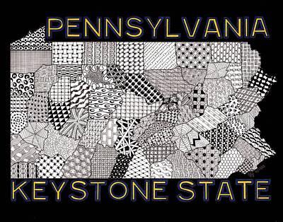 Pennsylvania Map Black Original by Rebecca Jayne