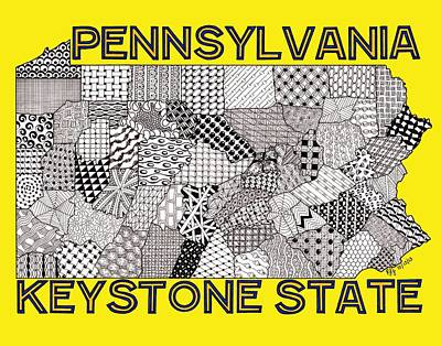 Pennsylvania Map Gold Art Print