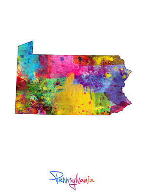 Pennsylvania Digital Art - Pennsylvania Map by Michael Tompsett
