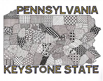 Pennsylvania Map White Art Print