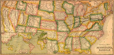 Pennsylvania Drawing - Pennsylvania Railroad Map 1879 by Mountain Dreams
