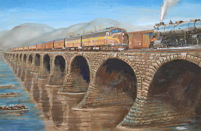 Susquehanna River Painting - Pennsylvania Railroad On The Rockville Bridge by Christopher Jenkins