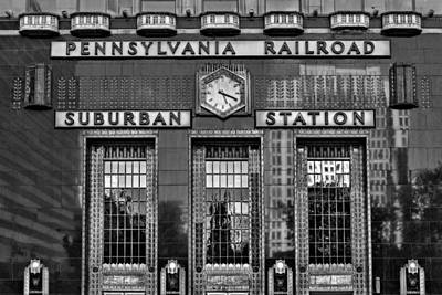 Old Fashioned Photograph - Pennsylvania Railroad Suburban Station Bw by Susan Candelario